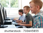 group of male elementary school ... | Shutterstock . vector #733645855