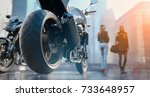 motorcycle wheels there is a... | Shutterstock . vector #733648957