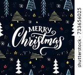 merry christmas text on hand... | Shutterstock .eps vector #733656025