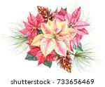 flower poinsettia  spruce... | Shutterstock . vector #733656469
