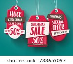 huge christmas sale vector set... | Shutterstock .eps vector #733659097