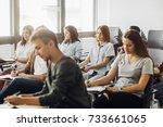 group of high school students... | Shutterstock . vector #733661065