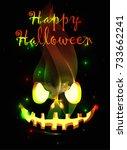 happy halloween poster. vector... | Shutterstock .eps vector #733662241