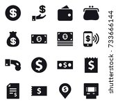 16 vector icon set   dollar ... | Shutterstock .eps vector #733666144