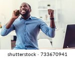 extremely excited millennial... | Shutterstock . vector #733670941