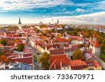 aerial panorama of old town... | Shutterstock . vector #733670971