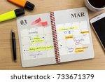 schedule activity and...   Shutterstock . vector #733671379