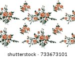 seamless hand drawn flower... | Shutterstock .eps vector #733673101