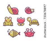 sea animals icon set. turtle ...   Shutterstock .eps vector #733678897