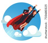 super hero business man   woman ... | Shutterstock .eps vector #733680325