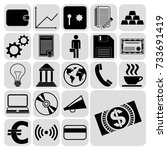 set of 22 business related... | Shutterstock .eps vector #733691419