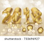 new 2018 golden year  wallpaper ... | Shutterstock .eps vector #733696927