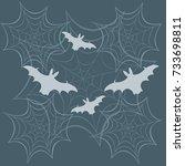 cobwebs and bats. halloween... | Shutterstock .eps vector #733698811
