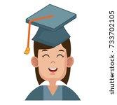 student graduation cartoon | Shutterstock .eps vector #733702105