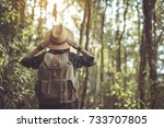 happy woman tourist to travel... | Shutterstock . vector #733707805