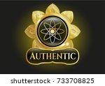 golden emblem or badge with... | Shutterstock .eps vector #733708825
