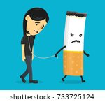 cigarette leads to a chain of a ... | Shutterstock .eps vector #733725124