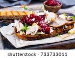 homemade leftover thanksgiving... | Shutterstock . vector #733733011