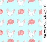 white rabbit sneaking on blue...   Shutterstock .eps vector #733734811