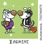 horoscope zodiac sign dog gemini | Shutterstock .eps vector #733740475