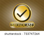 shiny badge with tick icon and ... | Shutterstock .eps vector #733747264