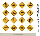 yellow traffic sign vector set | Shutterstock .eps vector #733749109
