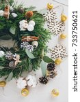 homemade christmas wreath on...   Shutterstock . vector #733750621