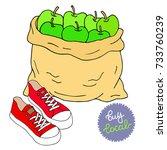 buy local illustration. a bag... | Shutterstock .eps vector #733760239