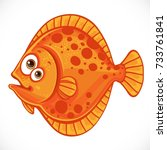 cute cartoon flounder isolated... | Shutterstock .eps vector #733761841