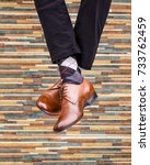 fashionable men's shoes with... | Shutterstock . vector #733762459