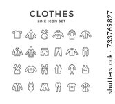 set line icons of clothes... | Shutterstock .eps vector #733769827