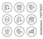 set round line icons of hearing ... | Shutterstock .eps vector #733778227