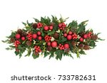 christmas table decoration with ... | Shutterstock . vector #733782631
