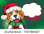 wow pop art dog face. funny... | Shutterstock .eps vector #733788307