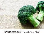 closeup fresh broccoli on... | Shutterstock . vector #733788769