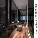 interior walk in closet studio... | Shutterstock . vector #733802884