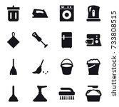 16 vector icon set   bin  iron  ... | Shutterstock .eps vector #733808515