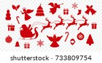 Set Of Red Vector Christmas...