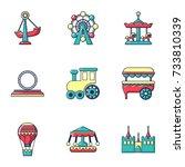 amusement park icons set. flat... | Shutterstock . vector #733810339