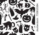 halloween party cat ghost... | Shutterstock .eps vector #733810384