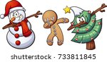 christmas dabbing characters.... | Shutterstock .eps vector #733811845