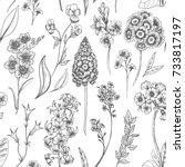vector floral pattern  flowers...   Shutterstock .eps vector #733817197