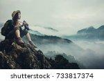 women girl with backpack... | Shutterstock . vector #733817374