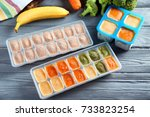 ice trays with frozen vegetable ... | Shutterstock . vector #733823254