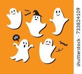 Cute Ghost Vector Illustration...