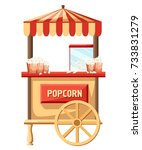 popcorn cart carnival store and ... | Shutterstock .eps vector #733831279