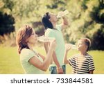 parents with teenager boy... | Shutterstock . vector #733844581