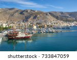 a beautiful wood ship at the... | Shutterstock . vector #733847059