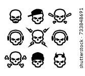 skull logo set. | Shutterstock .eps vector #733848691