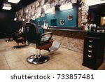 barbershop. blurred background... | Shutterstock . vector #733857481